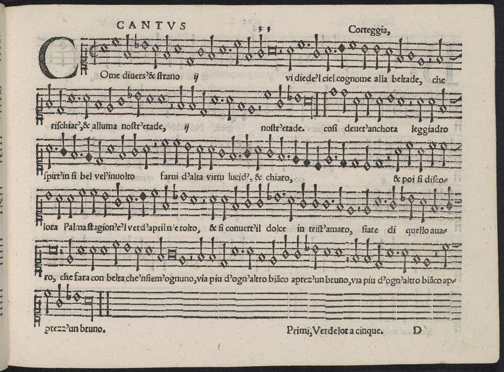 Le dotte, et eccellente compositioni de i madrigali di Verdelot a cinque voci, & da diuersi perfettissimi musici fatte