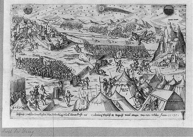 Schlacht zwischen Dem Fürsten Von Siebenburg vnd Sinan Bassa mit Eroberung Tergouist und Bogerist vndd Hirgro, Den 22. October Anno 1595