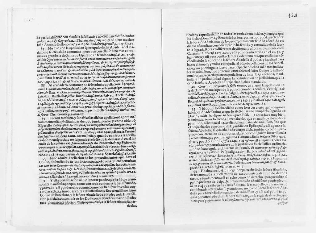 Brief on behalf Alfonso de Sotomayor, Archbishop of the city of Barcelona and a member of the Council of His Majesty, versus the Abbess of the Monastery of San Pedro de las Puellas of the city of Barcelona, Miguel Sanahuja y Boter, Gerónimo Planes and Buenaventura Torres, concerning the Abbess' rights to appoint officers to the Parish Church of San Pedro of the city of Barcelona. Ca. XVII century
