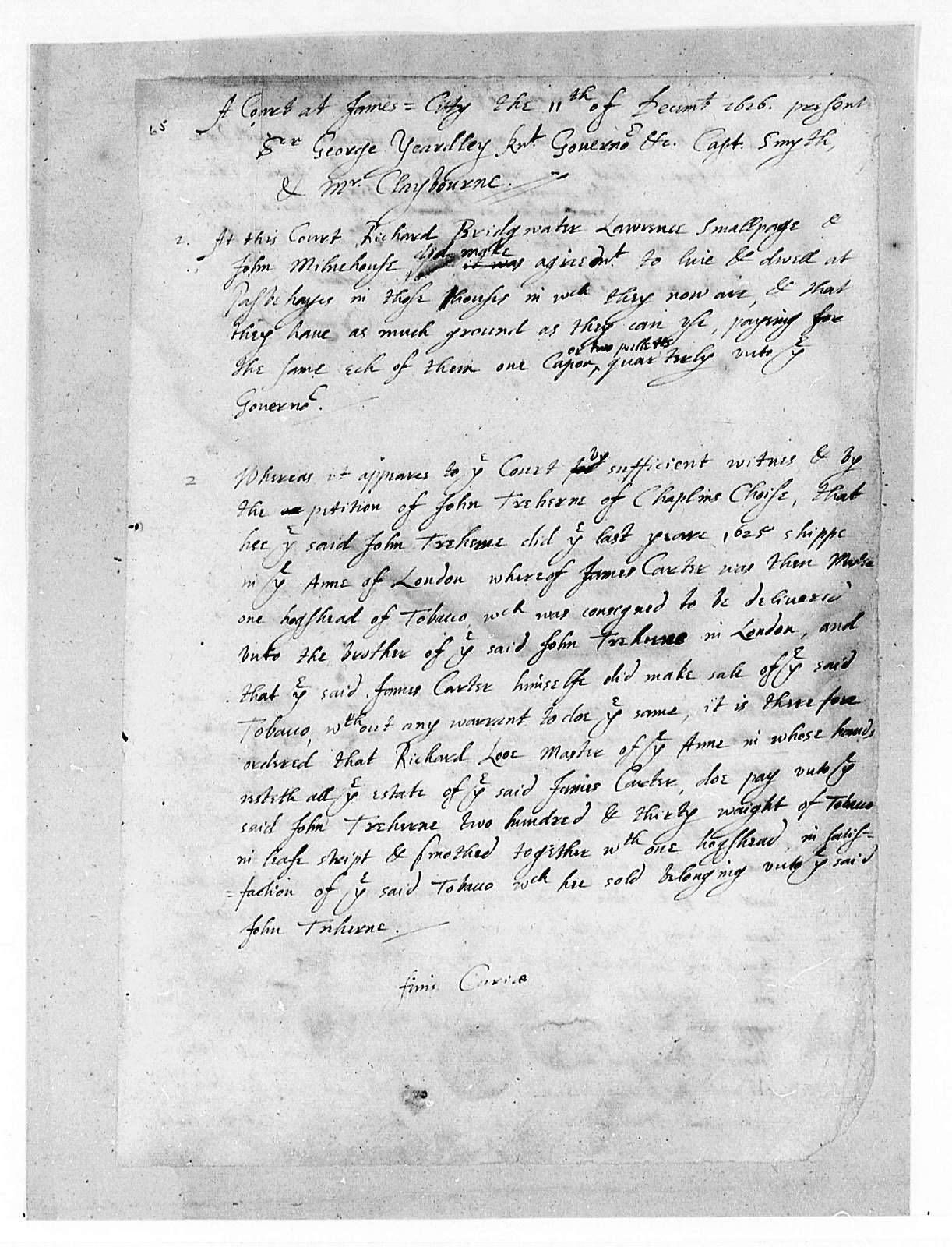 Virginia General Court, 1622-29, Cases, with Minutes