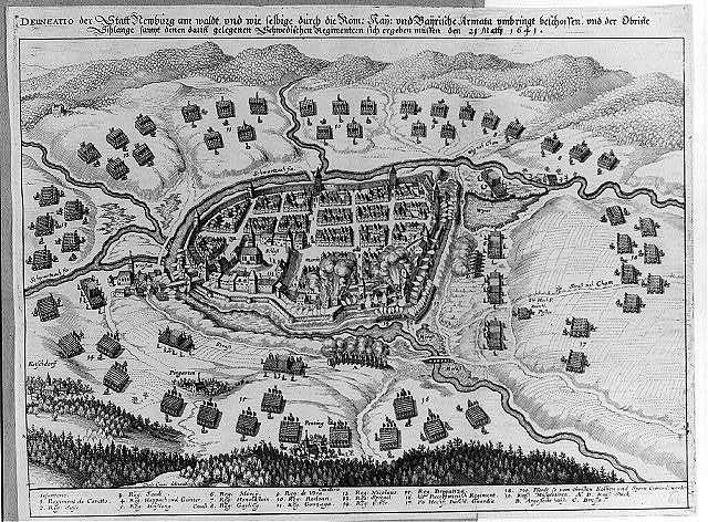 Delineatio der Statt Newburg am waldt vnd wie selbige durch die Röm. Kay. vnd Bairische Armata vmbringt beschossen vnd der Obriste Schlange sampt denen darinn gelegenen Schwedischen Regimenten sich ergeben müssen den 21 Martji 1641 Carlo Cappi, delinuit