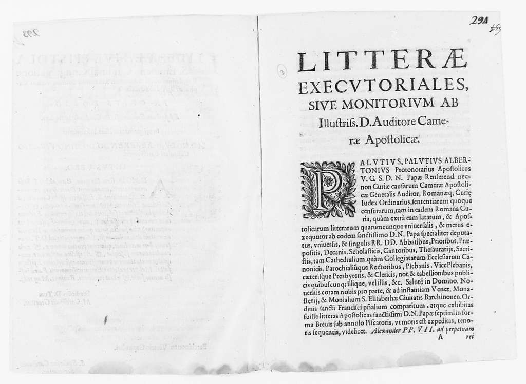 Execution of the Decree issued by Pope Alexander VII on March 3, 1663 placing the Monks, the Monastery and the Convent of Saint Elizabeth under the jurisdiction of the Bishop of Barcelona. Dated in the city of Barcelona : May 29, 1663