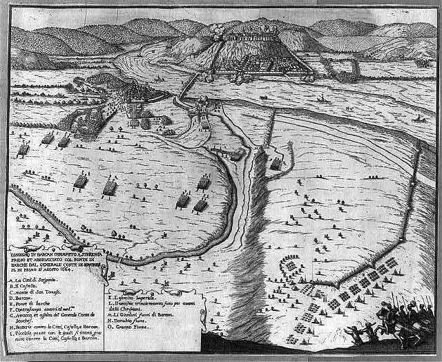 Dissegno di Barcan dirimpeto a Strigonia preso et abbrvcciato col ponte di Barche dal Generale Conte di Sovches il de primo d'Agosto 1664