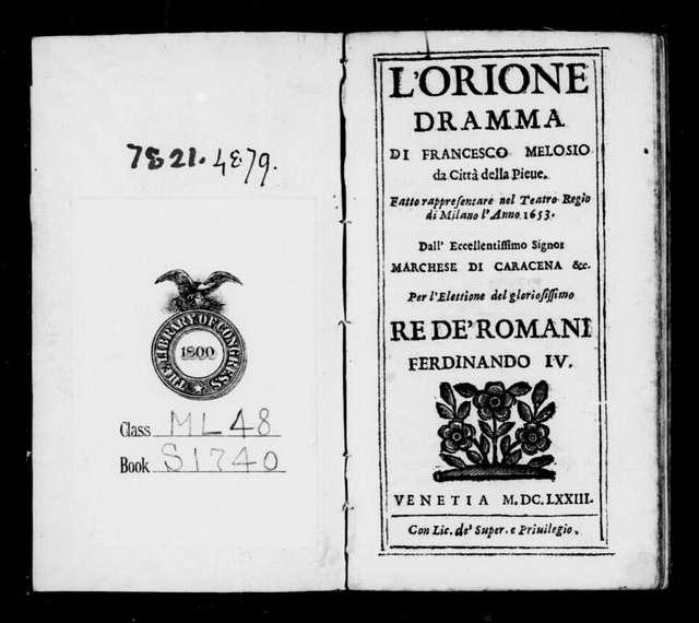 Orione. Libretto. Libretto. Italian