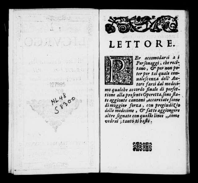 Licurgo. Libretto. Libretto. Italian