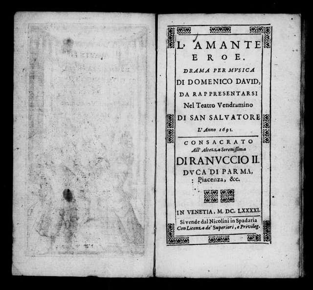 Amante eroe. Libretto. Italian