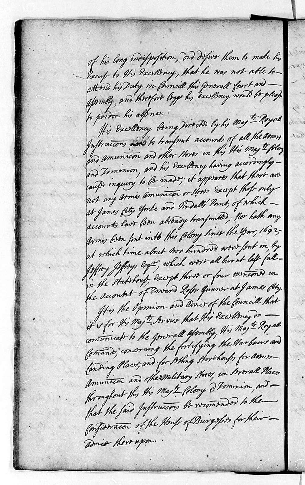 Virginia Executive Council, 1698-1700, Transactions