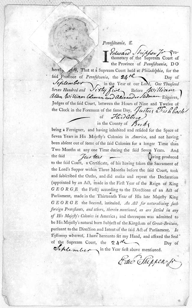 Pennsylvania, ss. I Prothonotary of the Supream Court of the Province of Pennsylvania, do hereby certify, that at a Supream Court held at Philadelphia, for the said Province of Pennsylvania, the day of in the year of our Lord, one thousand seven