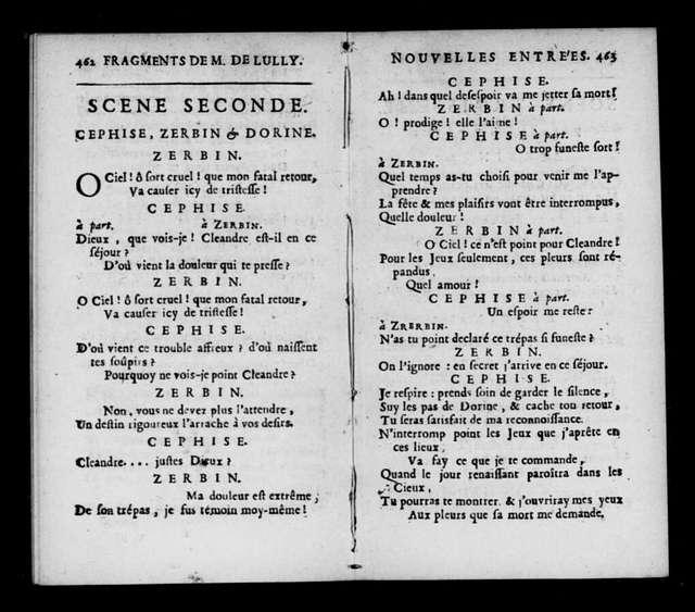 Fragments de Monsieur de Lully. Libretto. Selections