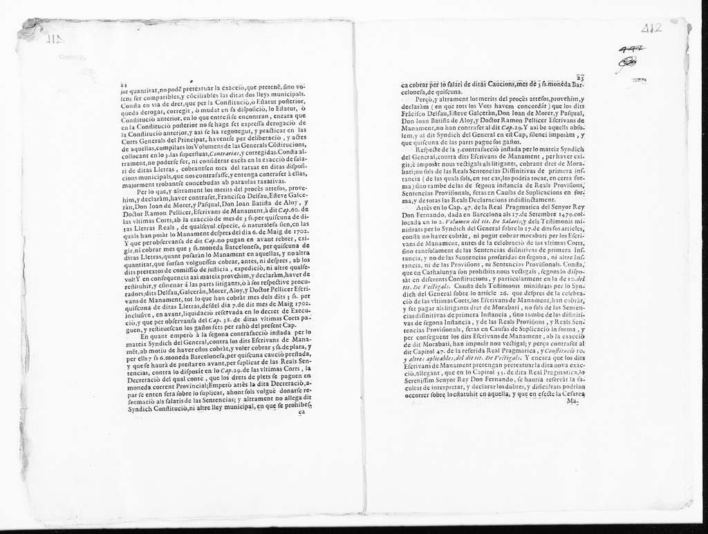 Judgment issued by Miguel de Calderó on behalf the clerks of the Lieutenancy General of the Princedom of Catalonia, Francisco Delfau, Estebán Galcerán, Juan de Morer Pascual, Juan Bautista de Aloy and Ramón Pellicer, in the case against the General Syndic