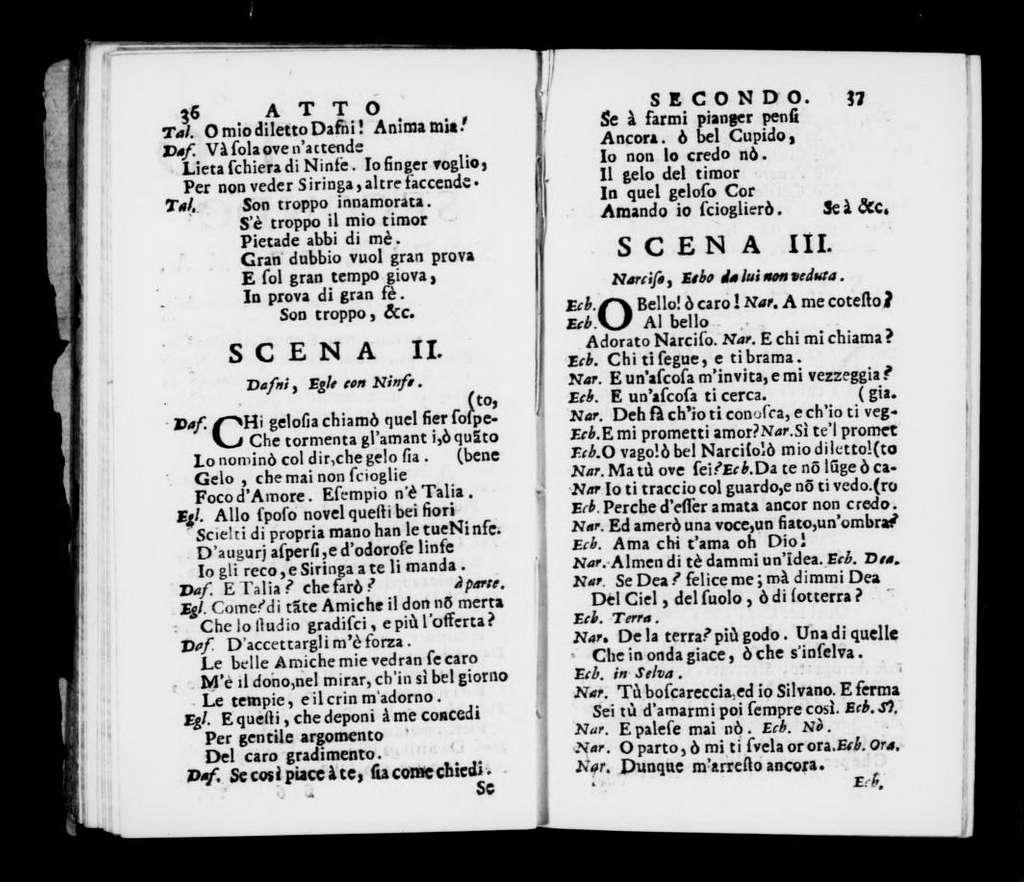 Dafni. Libretto. Libretto. Italian
