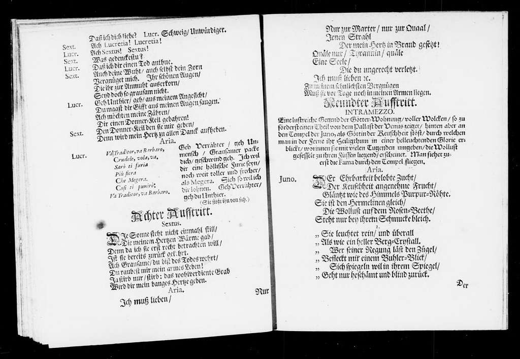 Kleinmüthige Selbstmörderinn Lucretia. Libretto. German