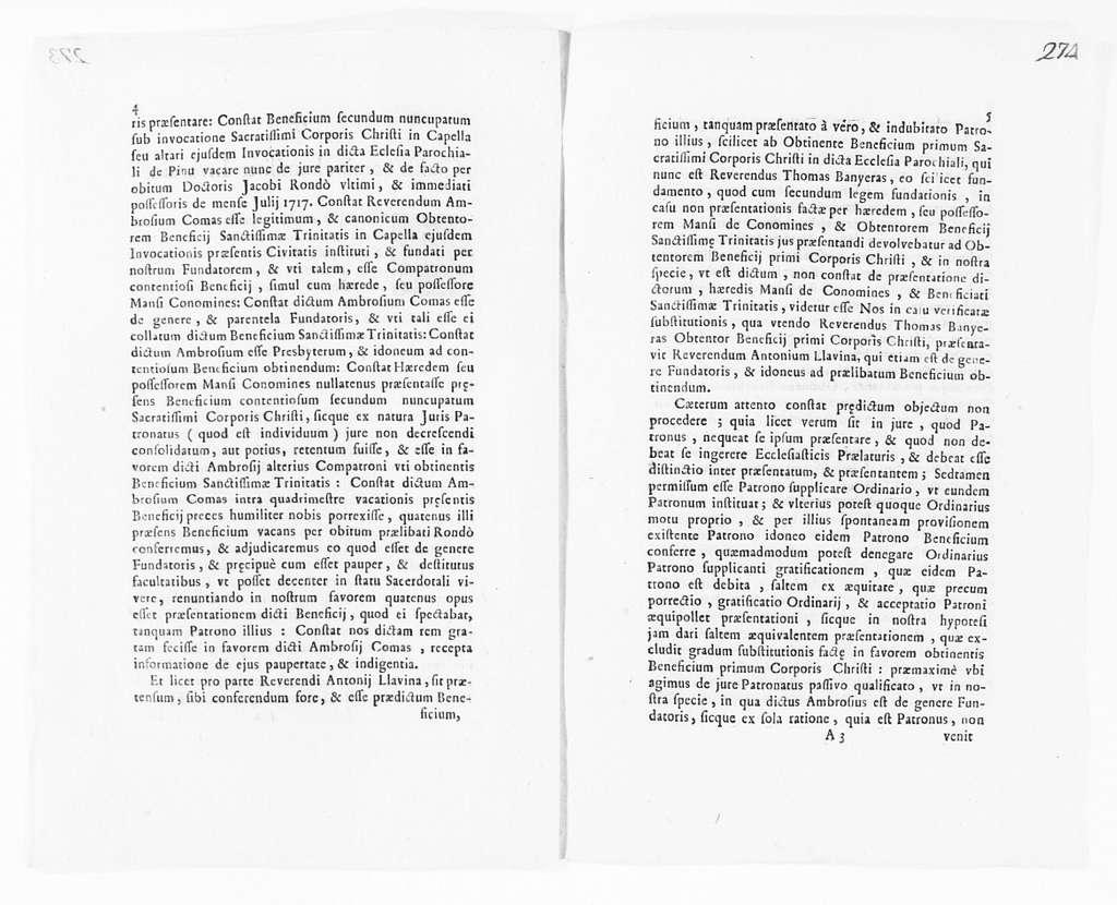 Judgment of October 3, 1722 issued by José de Rius y de Falguera on behalf Friar Ambrosio Comas of the parish church of El Pino of the city of Barcelona, concerning certain ecclesiastical privileges held by said Friar Ambrosio Comas