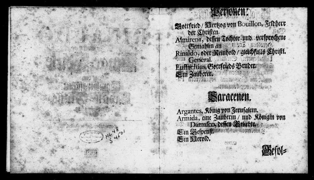 Rinaldo. Libretto. Libretto. German
