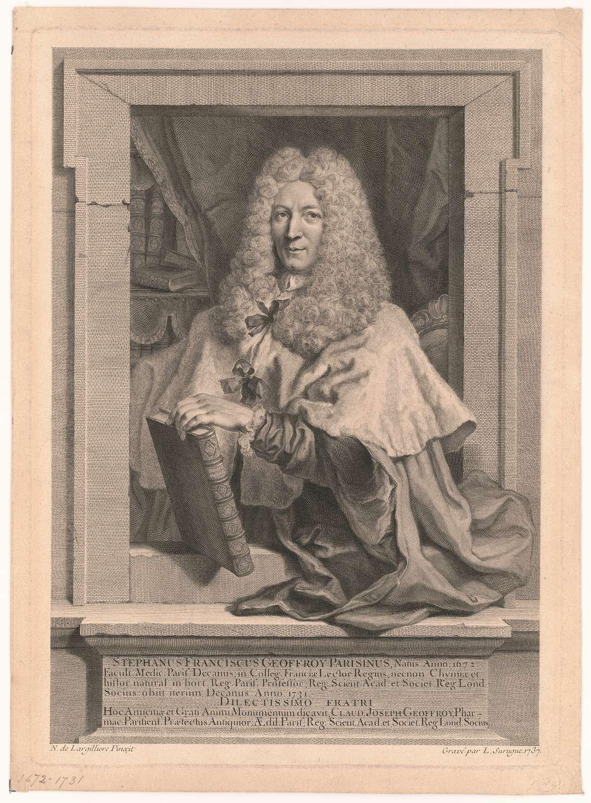 Stephanus Franciscus Geoffroy Parisinus, natus anno. 1672 N. de Largilliere pinxit ; gravé par L. Surugue 1737