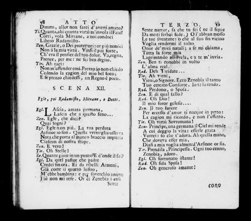 Zenobia. Libretto. Italian
