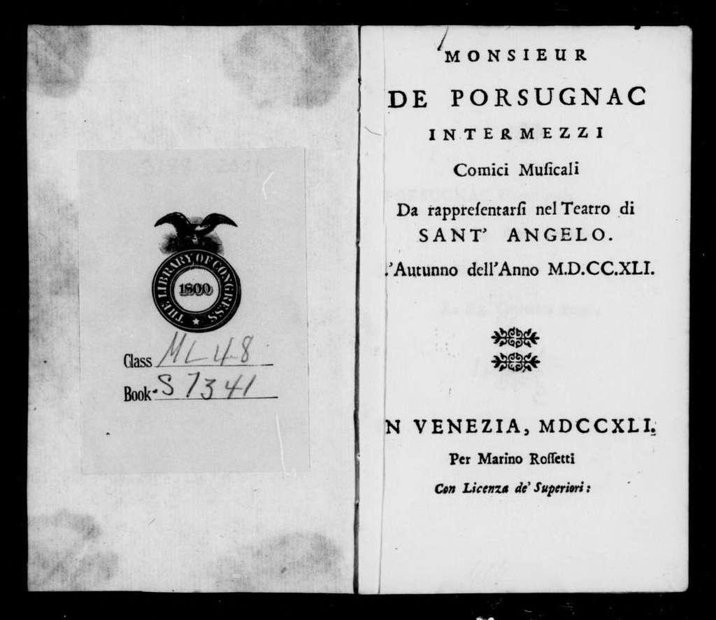Porsugnacco e Grilletta. Libretto. Libretto. Italian