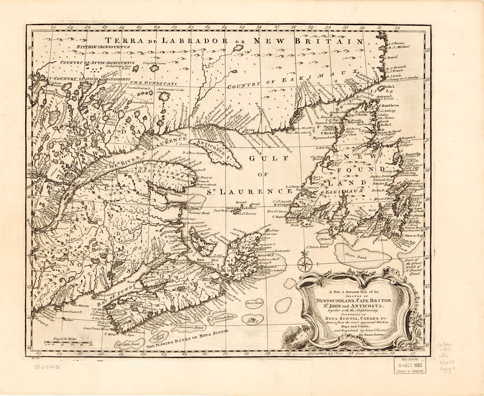 A new & accurate map of the islands of Newfoundland, Cape Breton, St. John and Anticosta; together with the neighbouring countries of Nova Scotia, Canada, &c