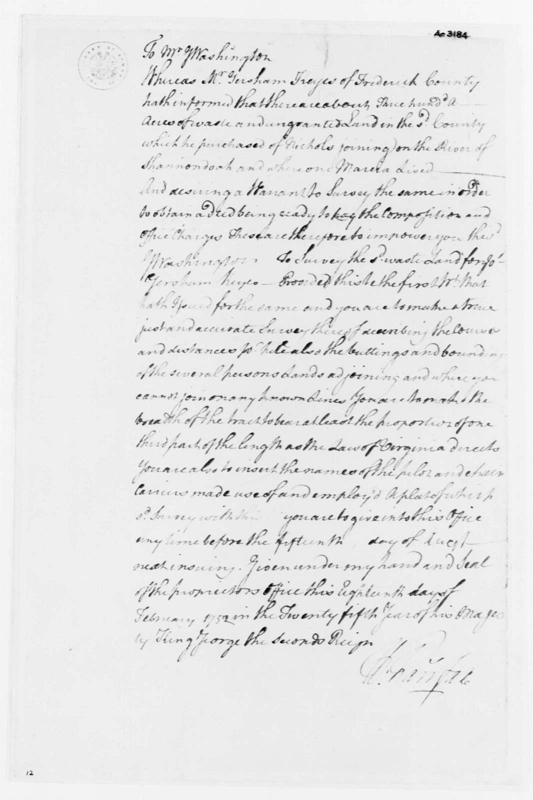 George Washington Papers, Series 4, General Correspondence: William Fairfax to George Washington, February 18, 1752, Survey Order