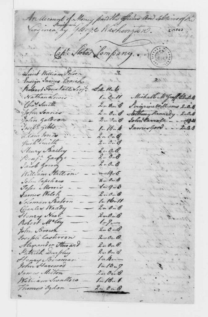 George Washington Papers, Series 4, General Correspondence: Virginia Regiment, 1754, Pay Accounts for Officers and Troops