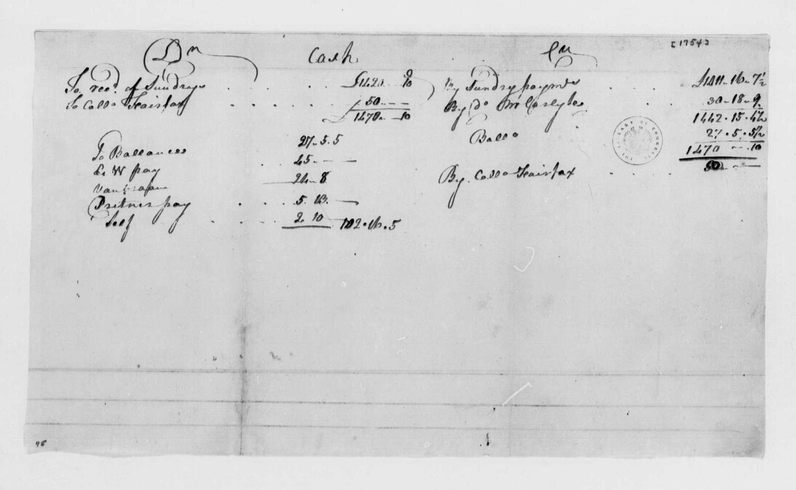 George Washington Papers, Series 4, General Correspondence: Virginia Regiment, 1754, Accounts for George Washington's Cash in Hand