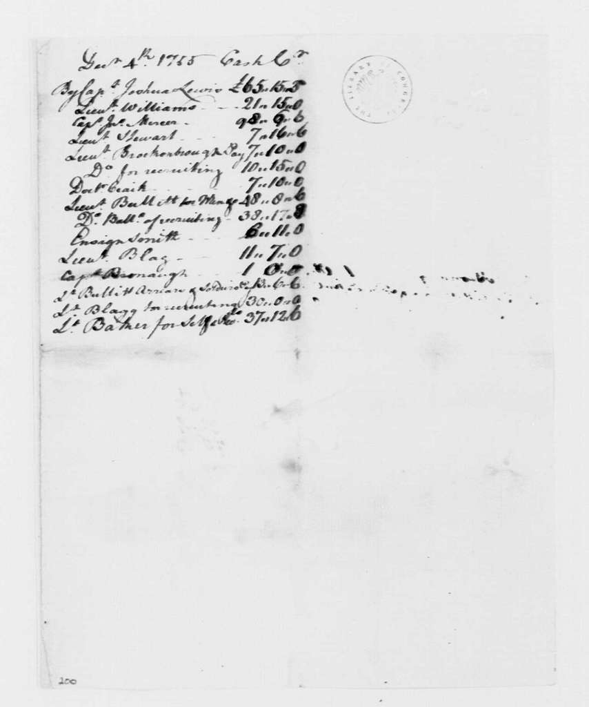 George Washington Papers, Series 4, General Correspondence: George Mercer, December 4, 1755, Account of Virginia Regiment with Payroll for Recruits