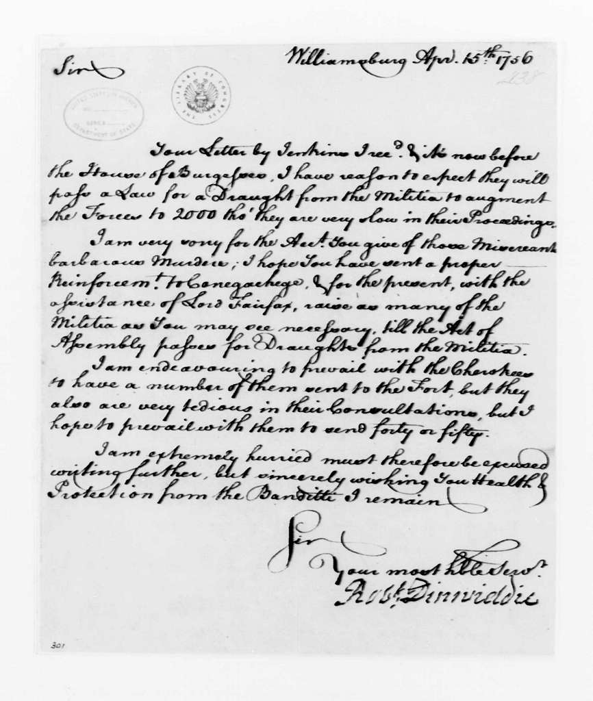 George Washington Papers, Series 4, General Correspondence: Robert Dinwiddie to George Washington, April 15, 1756