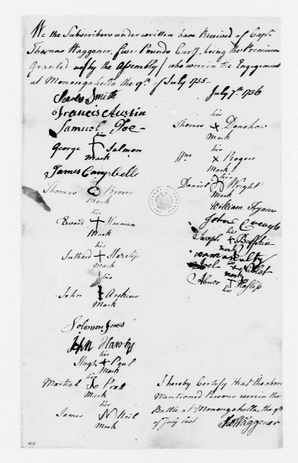 George Washington Papers, Series 4, General Correspondence: Thomas Waggener, July 9, 1756, Company Payroll Receipt