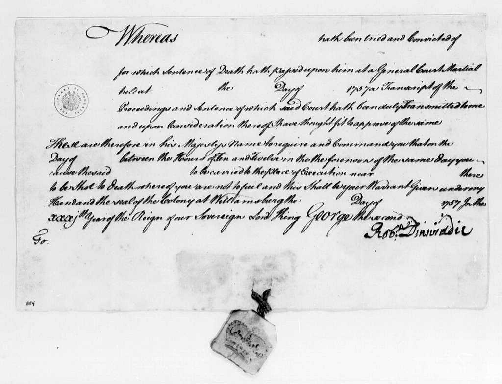George Washington Papers, Series 4, General Correspondence: Robert Dinwiddie, 1757, Blank Death Warrants with Seals