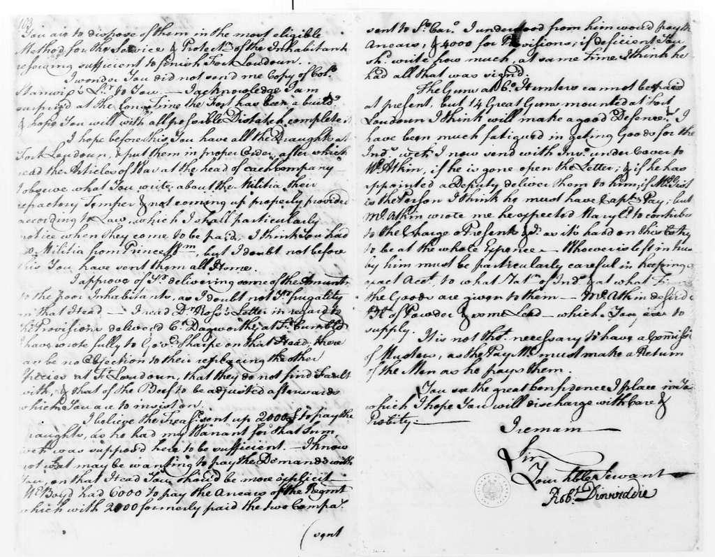 George Washington Papers, Series 4, General Correspondence: Robert Dinwiddie to George Washington, July 13, 1757