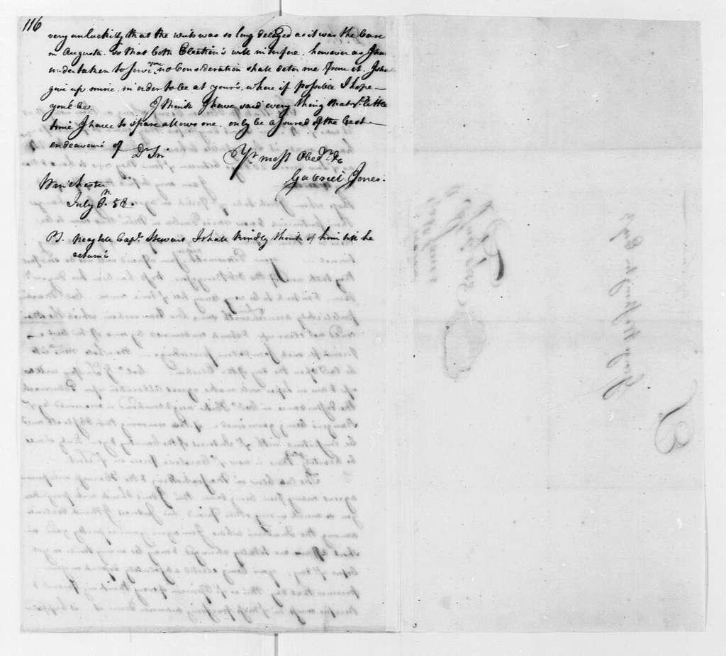 George Washington Papers, Series 4, General Correspondence: Gabriel Jones to George Washington, July 6, 1758