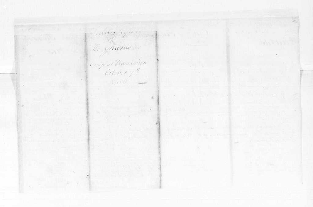 George Washington Papers, Series 4, General Correspondence: George Mercer, October 7, 1758, Reports on Guards at Raystown
