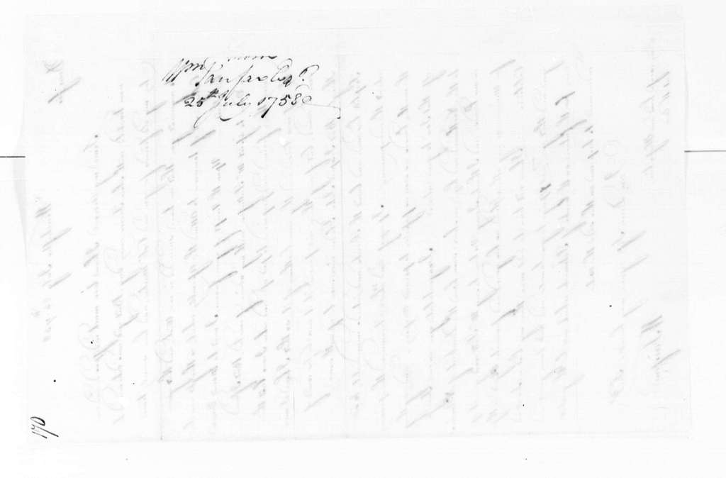 George Washington Papers, Series 4, General Correspondence: George William Fairfax to George Washington, July 25, 1758