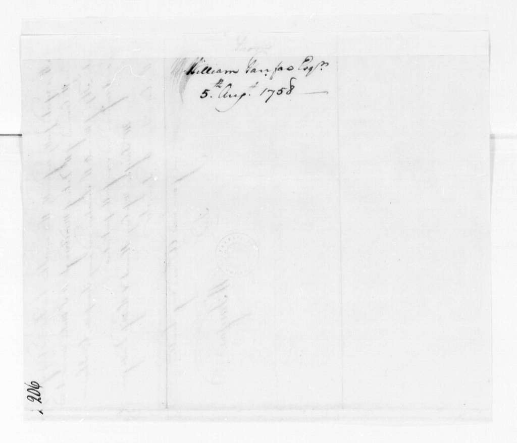 George Washington Papers, Series 4, General Correspondence: George William Fairfax to George Washington, August 5, 1758