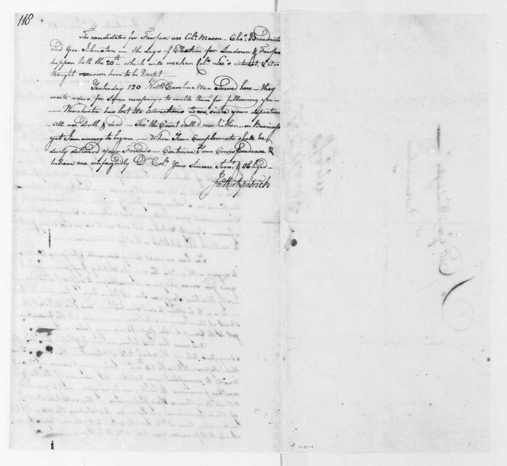 George Washington Papers, Series 4, General Correspondence: John Kirkpatrick to George Washington, July 6, 1758