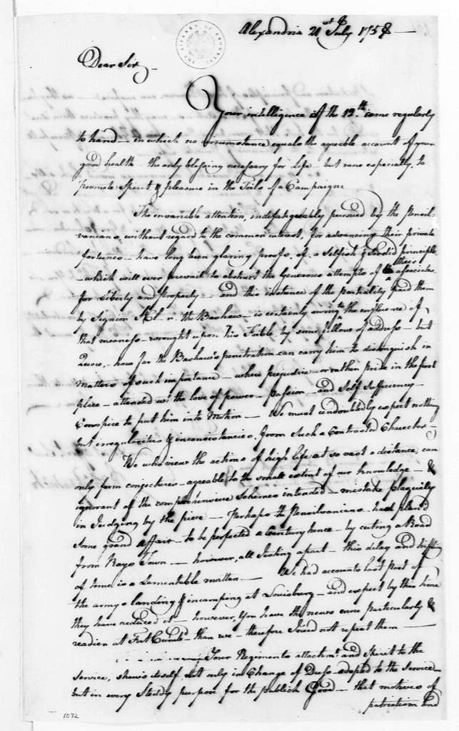 George Washington Papers, Series 4, General Correspondence: John Kirkpatrick to George Washington, July 21, 1758