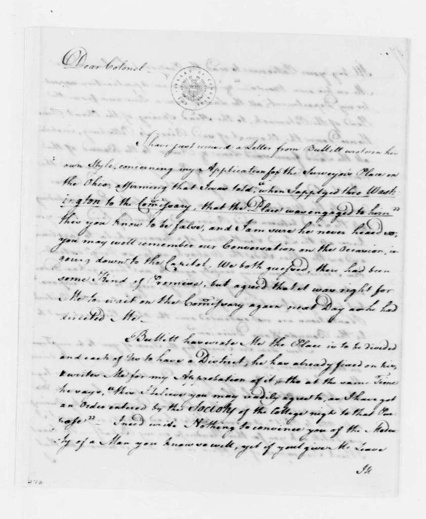 George Washington Papers, Series 4, General Correspondence: George Mercer to George Washington, February 17, 1760