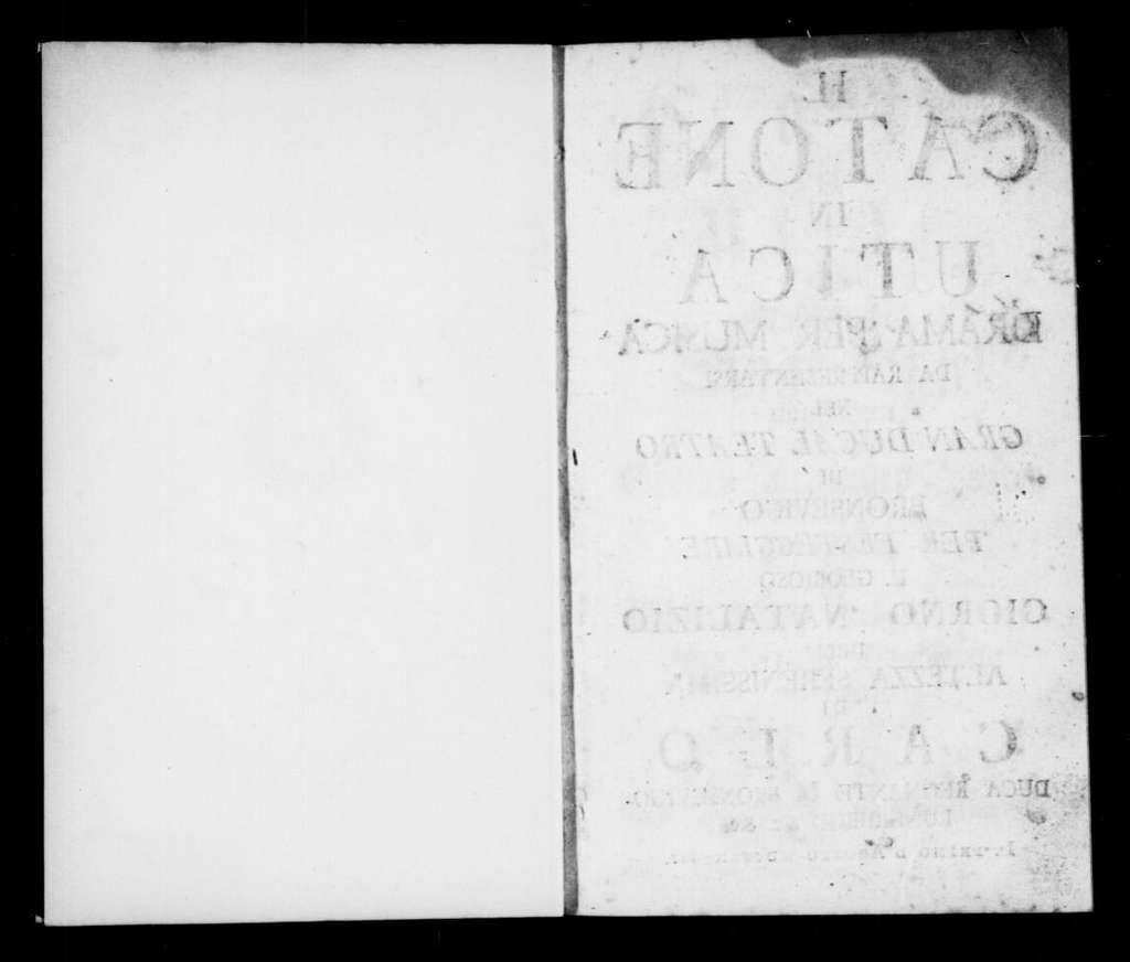 Catone in Utica. Libretto. Italian & German