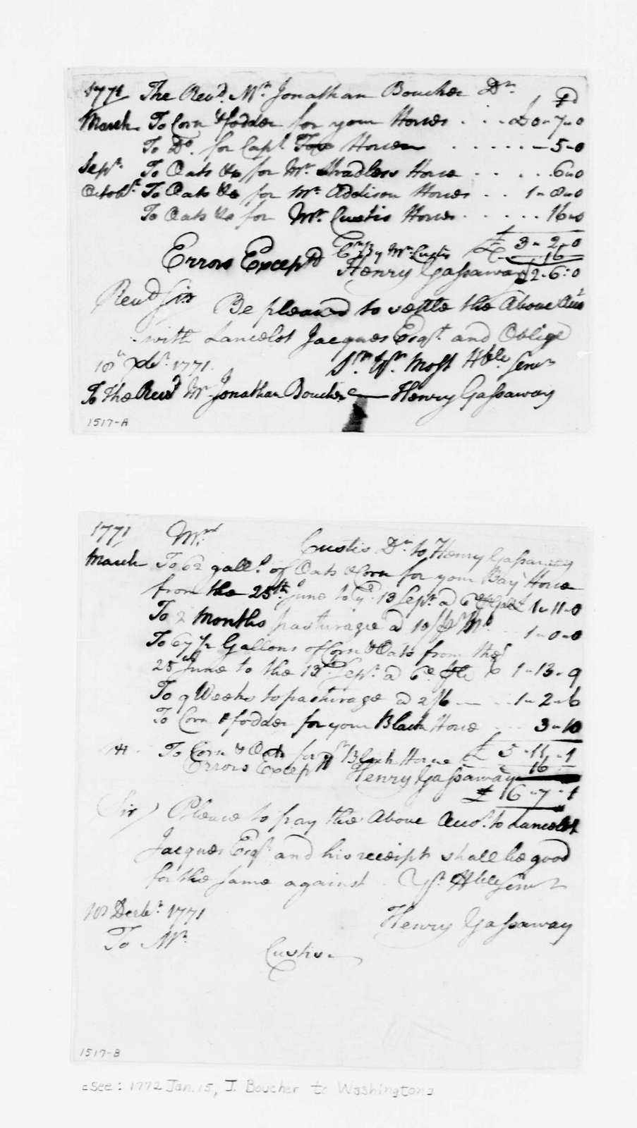 George Washington Papers, Series 4, General Correspondence: Henry Gassaway to Jonathan Boucher and John Parke Custis, December 18, 1771, Bills from March 1771