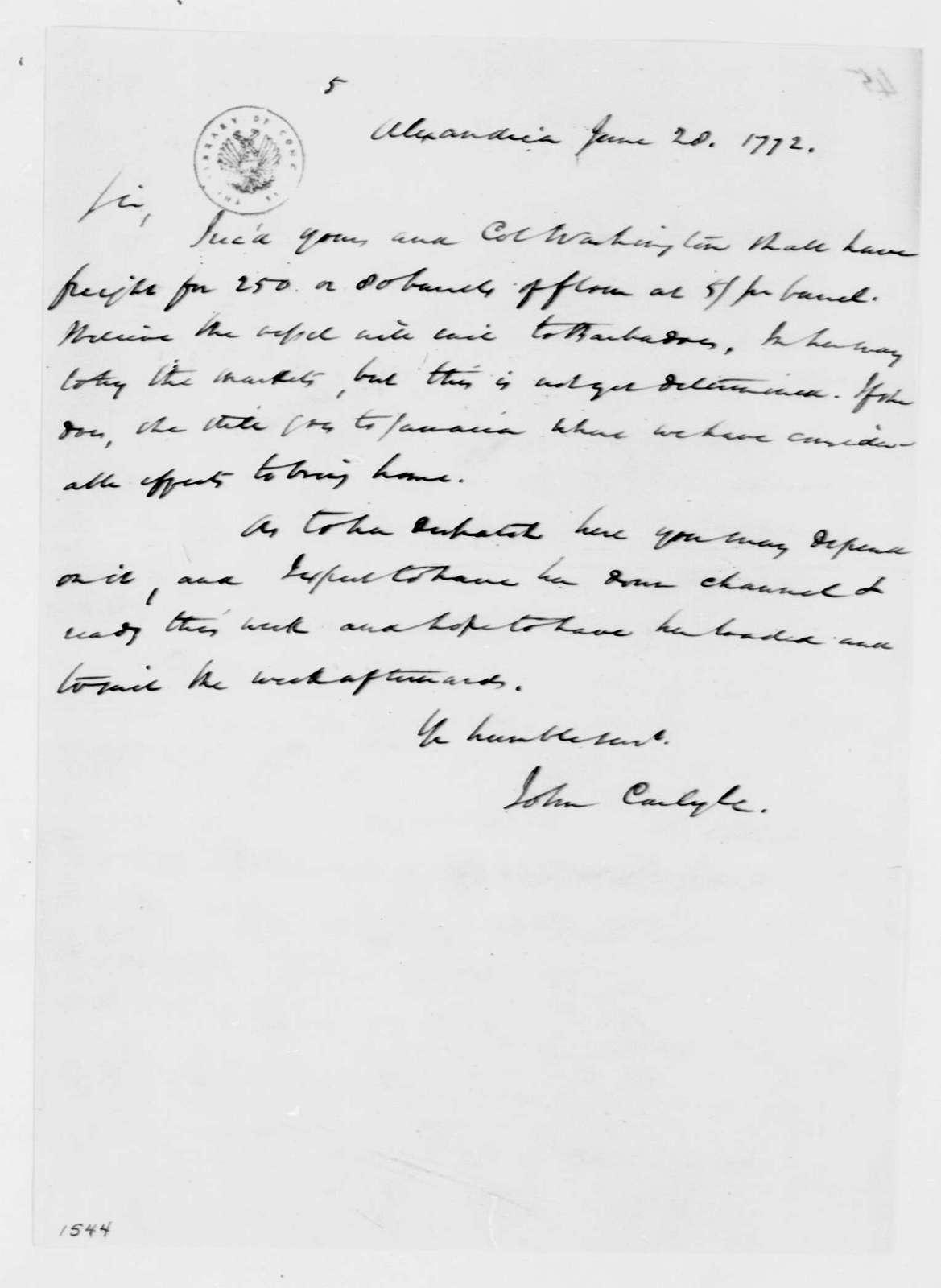 George Washington Papers, Series 4, General Correspondence: John Carlyle to George Washington, June 28, 1772, 19th-century transcription by William B. Sprague