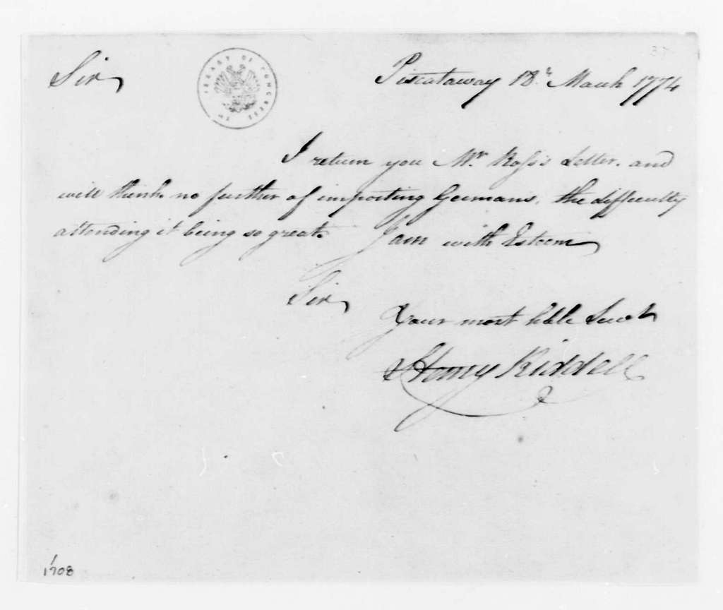 George Washington Papers, Series 4, General Correspondence: Henry Riddell to George Washington, March 18, 1774