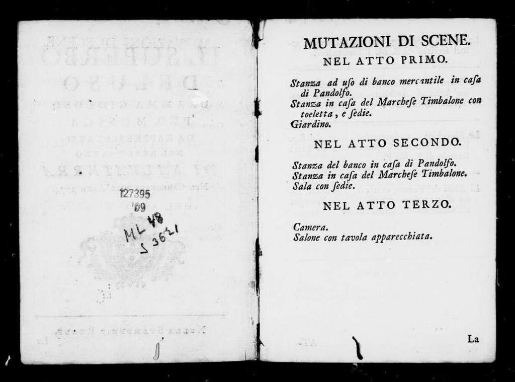 Il superbo deluso dramma giocoso per musica da rappresentarsi nel Real Teatro di Salvaterra nel carnovale dell'anno 1774