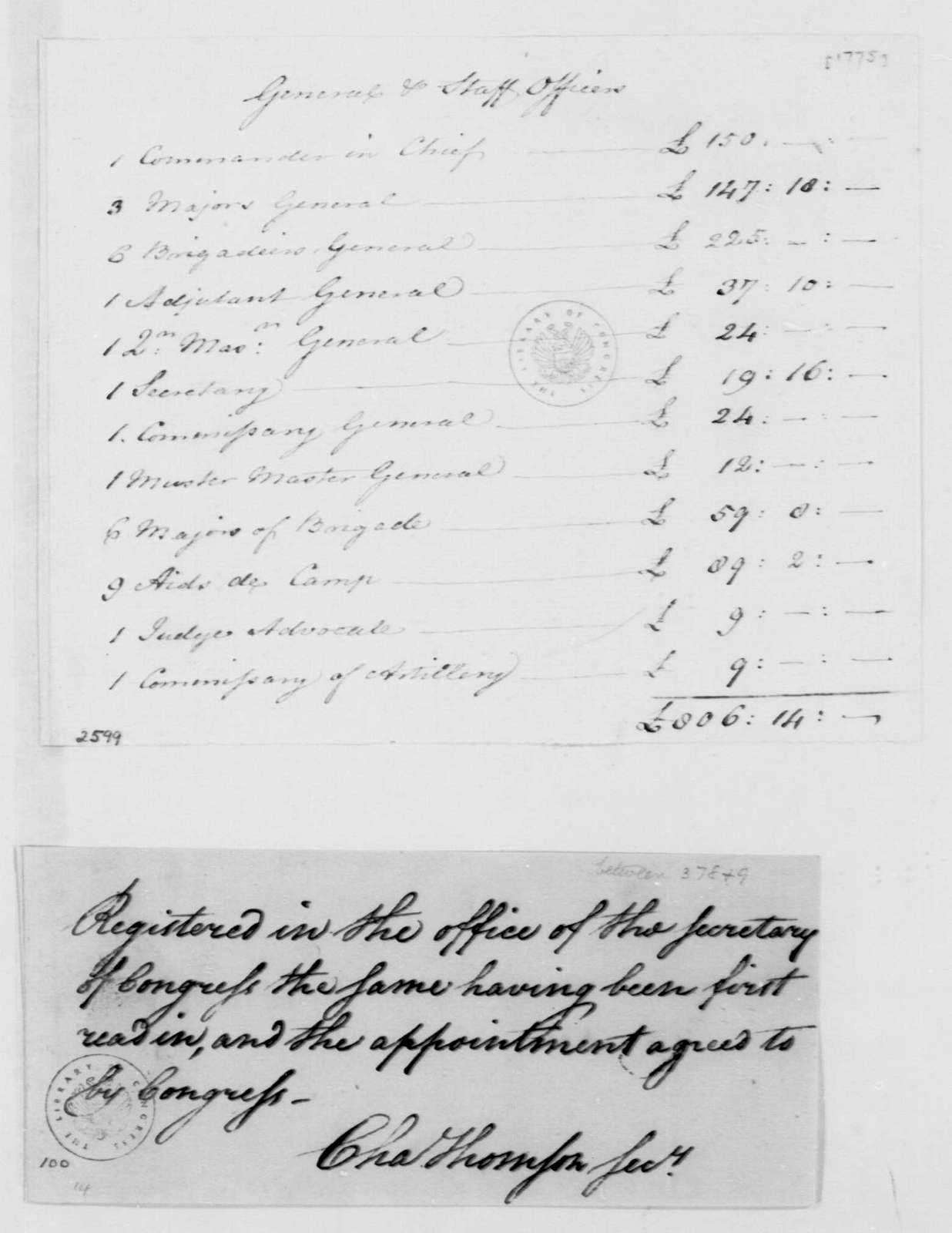 George Washington Papers, Series 4, General Correspondence: Horatio Gates, 1775, Officers Pay Schedule