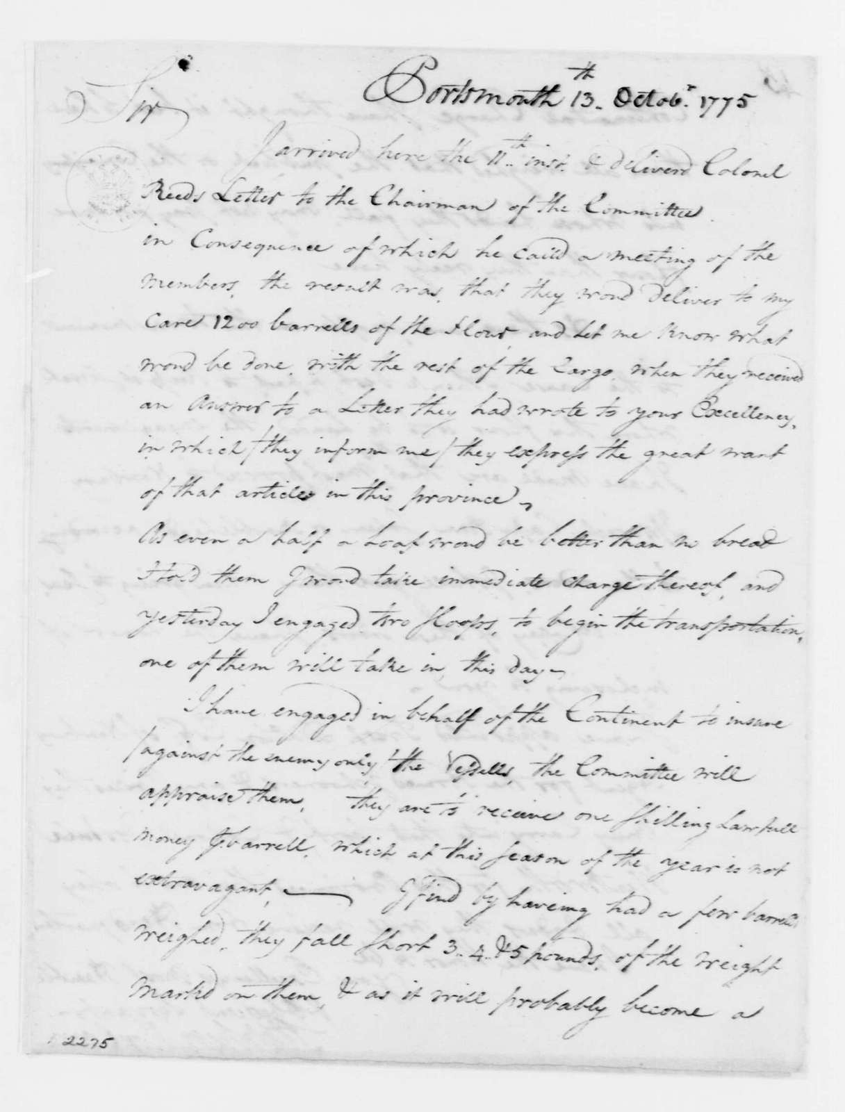 George Washington Papers, Series 4, General Correspondence: Stephen Moylan to George Washington, October 13, 1775, with Blank Forms for Provisions