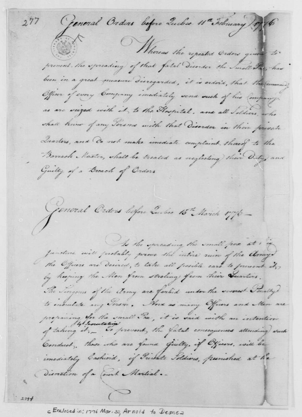 George Washington Papers, Series 4, General Correspondence: Benedict Arnold, February 11, 1776, General Orders
