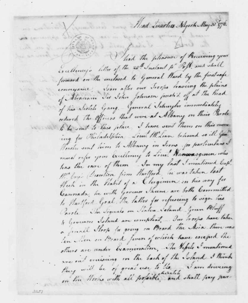 George Washington Papers, Series 4, General Correspondence: Israel Putnam to George Washington, May 31, 1776