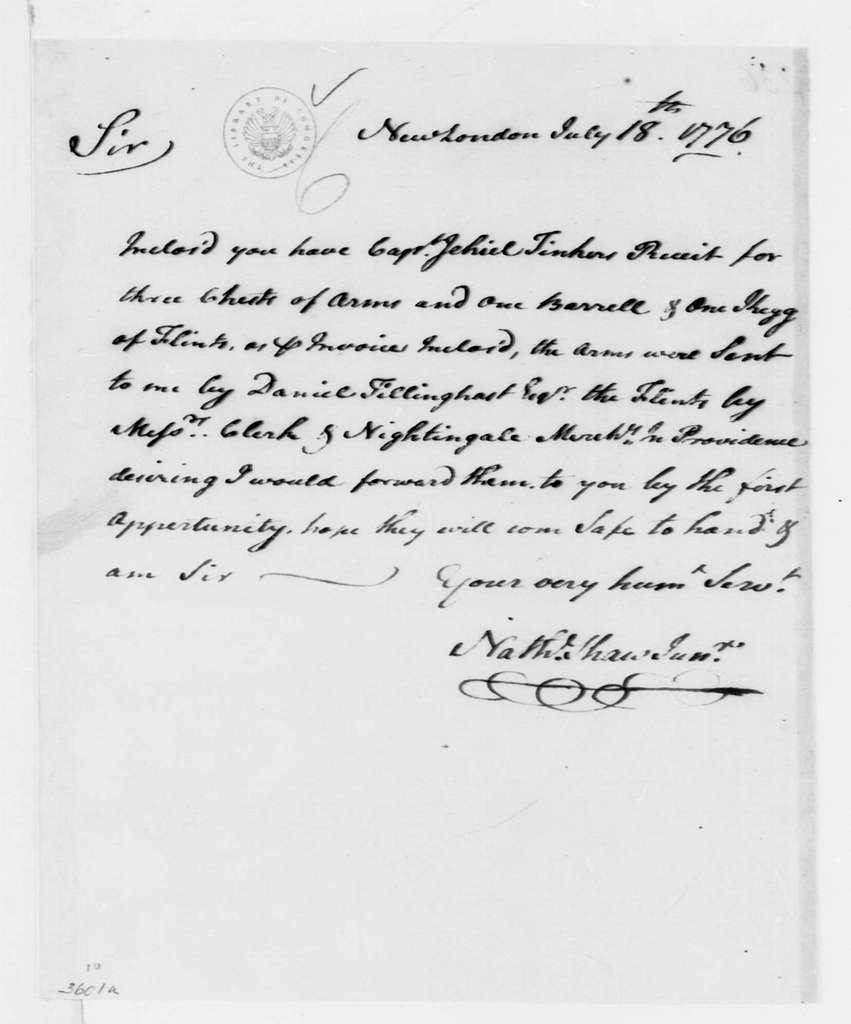George Washington Papers, Series 4, General Correspondence: Nathaniel Shaw Jr. to George Washington, July 18, 1776
