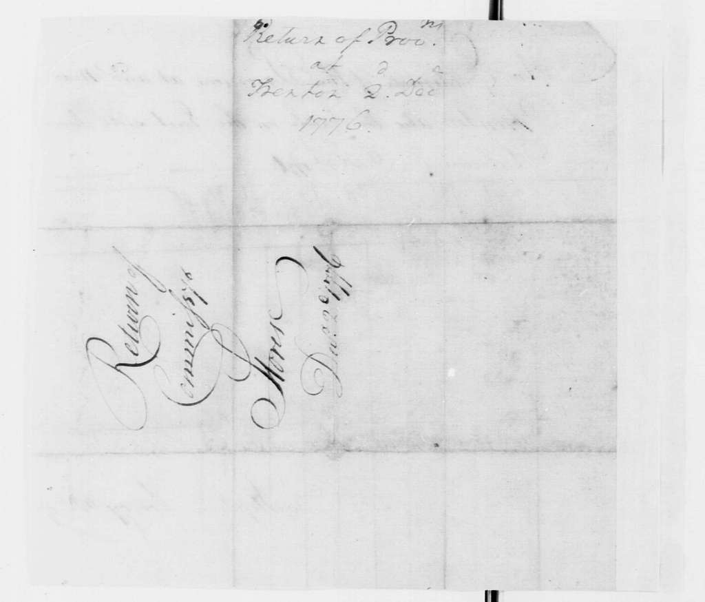 George Washington Papers, Series 4, General Correspondence: Stephen Lowry, December 2, 1776, Provisions Estimate
