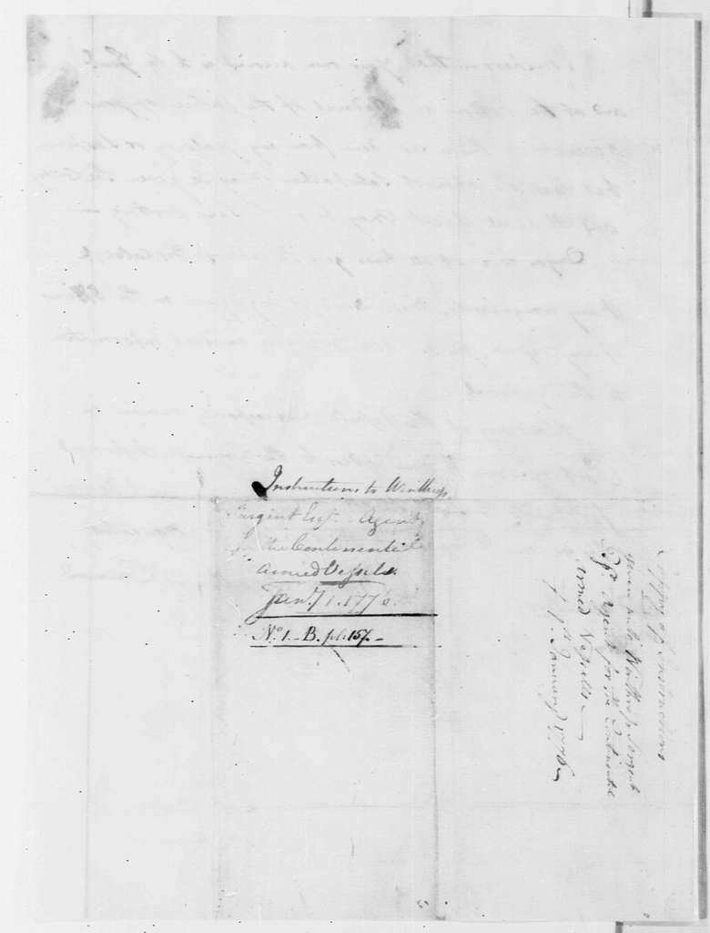 George Washington Papers, Series 4, General Correspondence: Stephen Moylan to Winthrop Sargent, January 1, 1776, Instructions