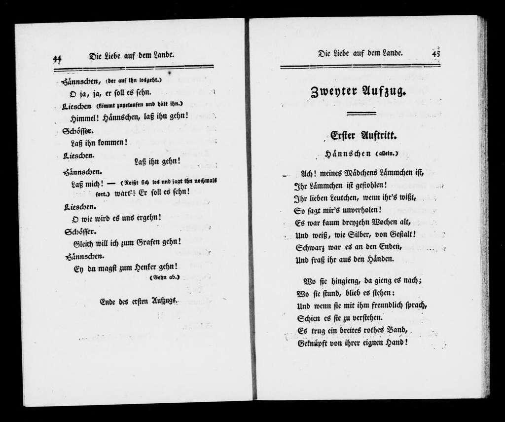 Liebe auf dem Lande. Libretto. Libretto. German